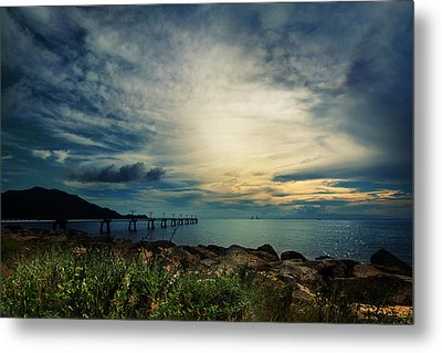 Metal Print featuring the photograph Sunset At Airport by Afrison Ma