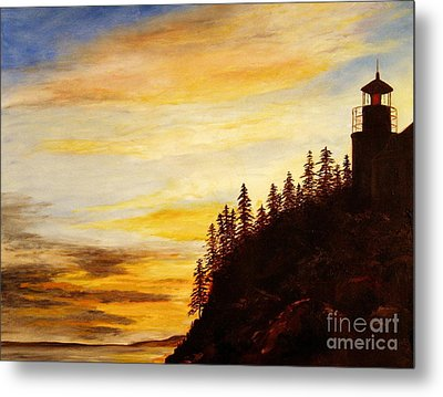 Metal Print featuring the painting Sunset At Bass Harbor by Lee Piper