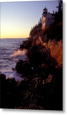 Sunset At Bass Harbor Lighthouse Metal Print by Brent L Ander