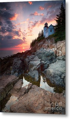 Sunset At Bass Harbor Lighthouse Metal Print