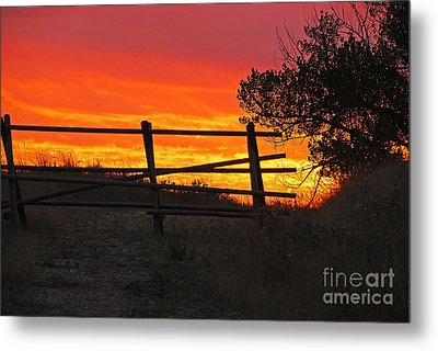 Sunset At Bear Butte Metal Print by Mary Carol Story