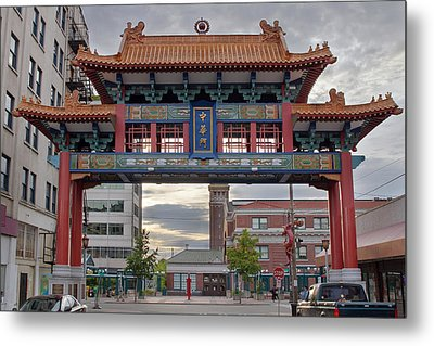 Metal Print featuring the photograph Sunset At Chinatown Gate In Seattle Washington by JPLDesigns
