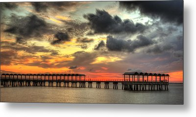 Sunset At Clam Creek Fishing Pier Metal Print by Greg and Chrystal Mimbs