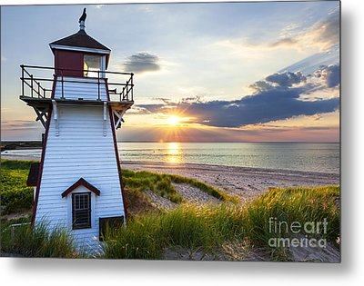 Sunset At Covehead Harbour Lighthouse Metal Print by Elena Elisseeva