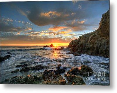 Sunset At Crescent Bay Beach Metal Print by Eddie Yerkish