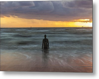 Sunset At Crosby Beach Liverpool Metal Print by Paul Madden