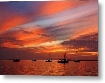 Sunset At Crystal Beach Metal Print by Daniel Woodrum