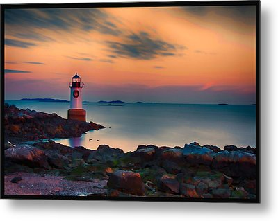 Sunset At Fort Pickering Lighthouse Metal Print by Jeff Folger