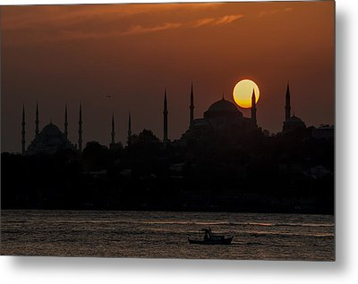 Sunset At Historical Peninsula In Istanbul Metal Print by Ayhan Altun