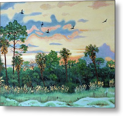 Metal Print featuring the painting Sunset At Hunting Island by Dwain Ray