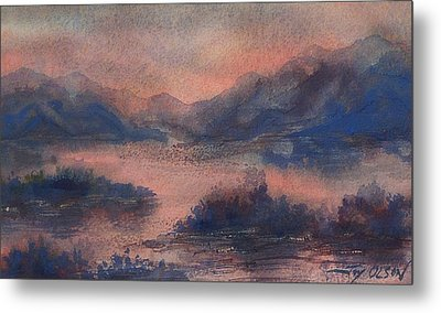 Metal Print featuring the painting Sunset At Lake Champlain by Joy Nichols