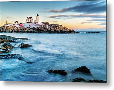 Sunset At Nubble Light-cape Neddick Maine Metal Print by Expressive Landscapes Fine Art Photography by Thom