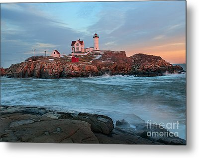 Sunset At Nubble Lighthouse Metal Print by Sharon Seaward