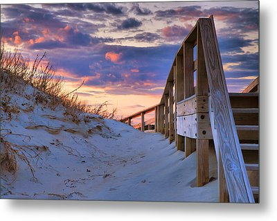 Sunset At Ocracoke Metal Print by Steven Ainsworth