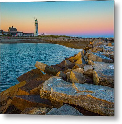 Sunset At Old Scituate Lighthouse Metal Print by Brian MacLean