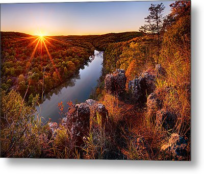 Sunset At Paint-rock Bluff Metal Print by Robert Charity