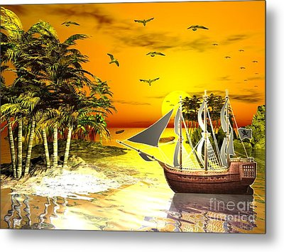 Sunset At Pirates Cove Metal Print by Jacqueline Lloyd
