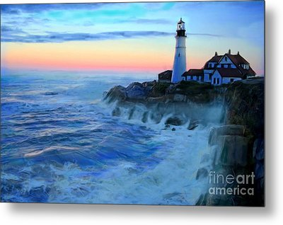 Sunset At Portland Head Lighthouse Metal Print by Earl Jackson