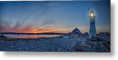 Sunset At Scituate Light Metal Print by Jeff Folger