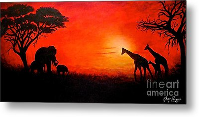 Metal Print featuring the painting Sunset At Serengeti by Sher Nasser