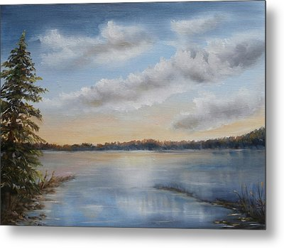 Metal Print featuring the painting Sunset At Sparta Lake New Jersey by Luczay
