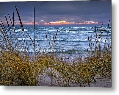 Sunset On The Beach At Lake Michigan With Dune Grass Metal Print by Randall Nyhof