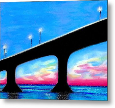 Sunset At The Bridge Metal Print