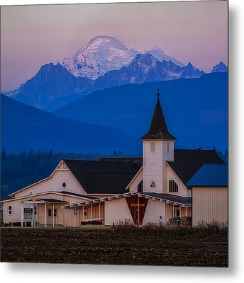 Sunset At The Chapel Metal Print