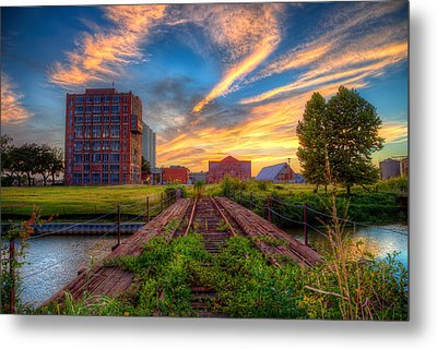 Sunset At The Imperial Sugar Factory Early Stage Landscape Metal Print