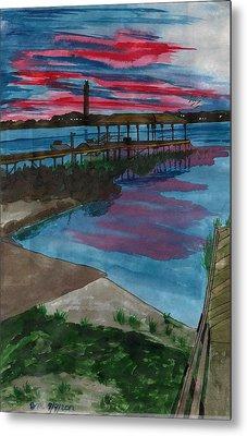 Sunset At The Lake Clay Boat Ramp Metal Print