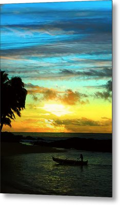 Sunset At The Luau Metal Print by Kara  Stewart