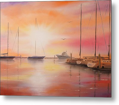 Sunset At The Marina Metal Print by Chris Fraser