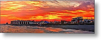 Sunset At The Music Pier Metal Print