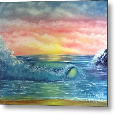 Sunset At The Seashore  Metal Print by Becky Lupe