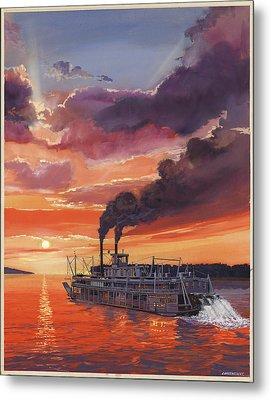 Sunset Bald Eagle Steamboat Metal Print