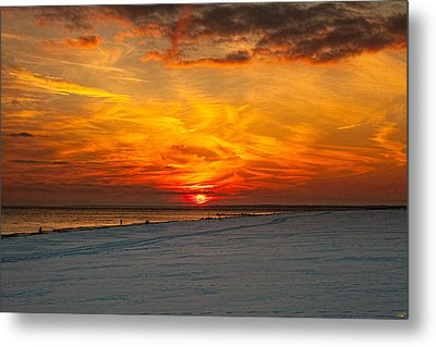 Metal Print featuring the photograph Sunset Beach New York by Chris Lord