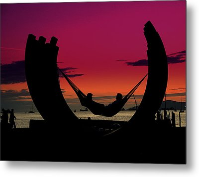 Sunset Beach Relaxation Metal Print