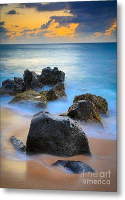 Sunset Beach Rocks Metal Print by Inge Johnsson