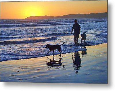 Sunset Beach Stroll - Man And Dogs Metal Print by Nikolyn McDonald