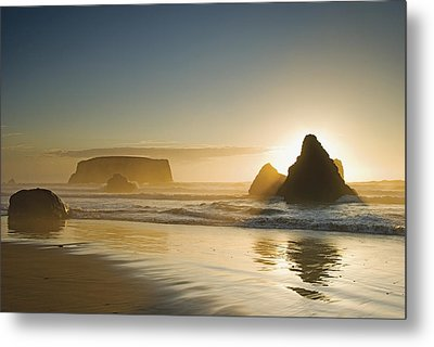 Sunset Behind Offshore Rocks Bandon Metal Print by Philippe Widling