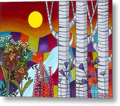 Sunset Birches Metal Print by Carla Bank