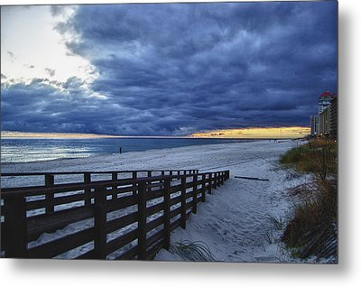 Sunset Boardwalk Metal Print