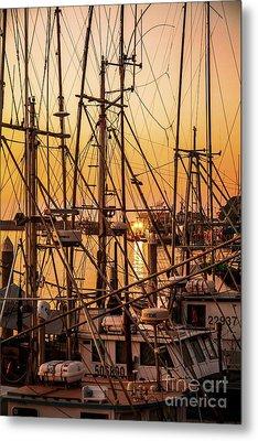 Sunset Boat Masts At Dock Morro Bay Marina Fine Art Photography Print Sale Metal Print