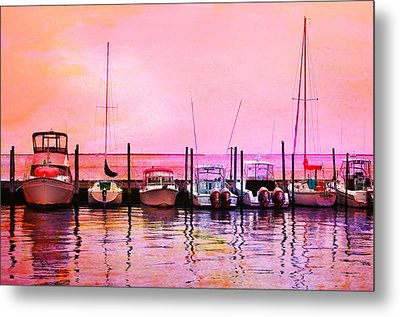 Sunset Boats Metal Print by Laura Fasulo