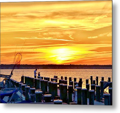 Sunset By The Dock Metal Print by Kim Bemis