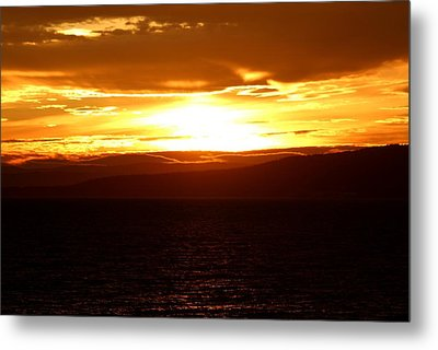 Sunset By The Fjord Metal Print