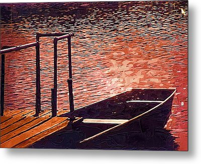 Sunset Canoe Metal Print