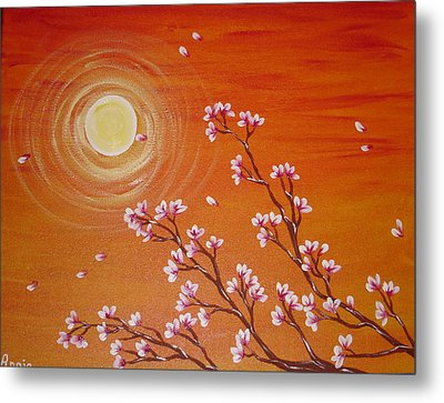 Sunset Cherry Blossoms Metal Print by Angie Butler