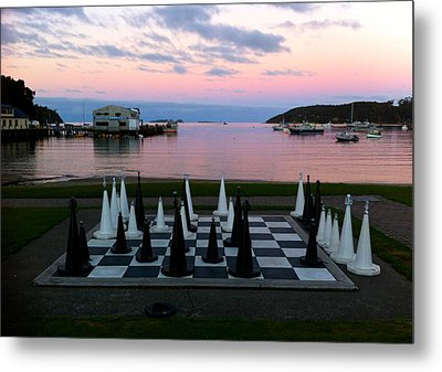 Sunset Chess At Half Moon Bay Metal Print by Venetia Featherstone-Witty