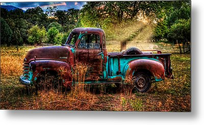 Sunset Chevy Pickup Metal Print by Ken Smith